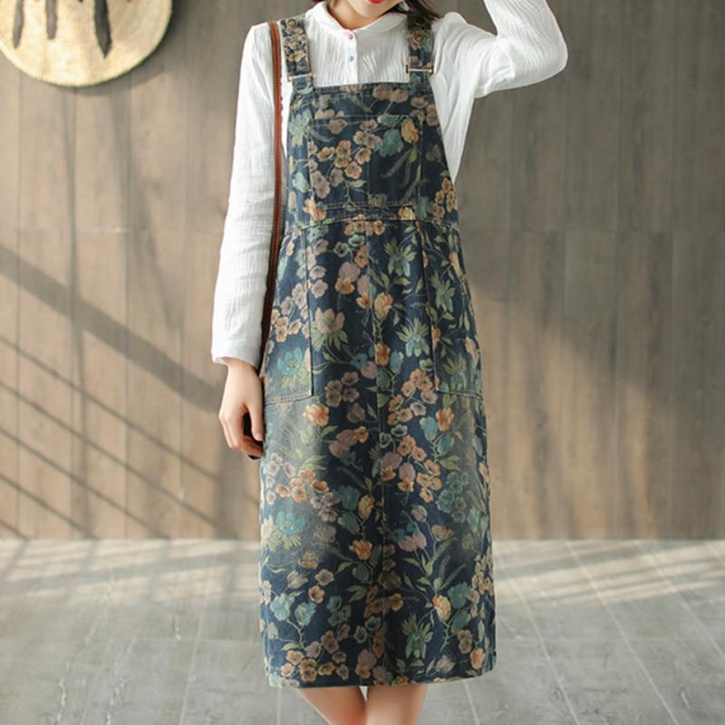 Buddha Trends Overall Kleid Artsy Floral Denim Overall Kleid