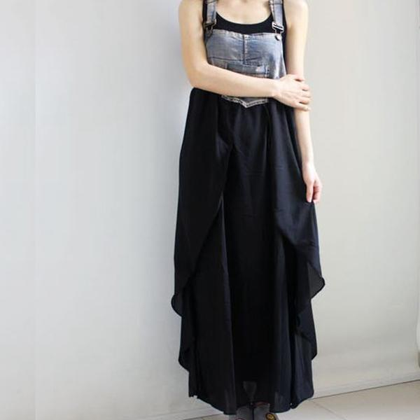 Buddha Trends overall dress Black & Blue Long Denim Overall Dress