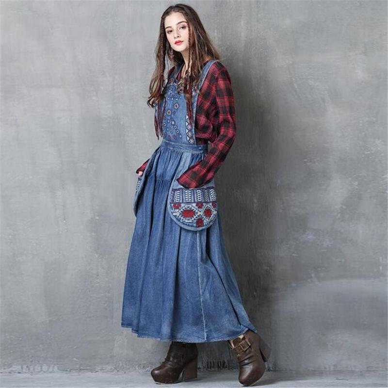 Buddha Trends overall dress Long Denim Overall Dress with Large Pockets