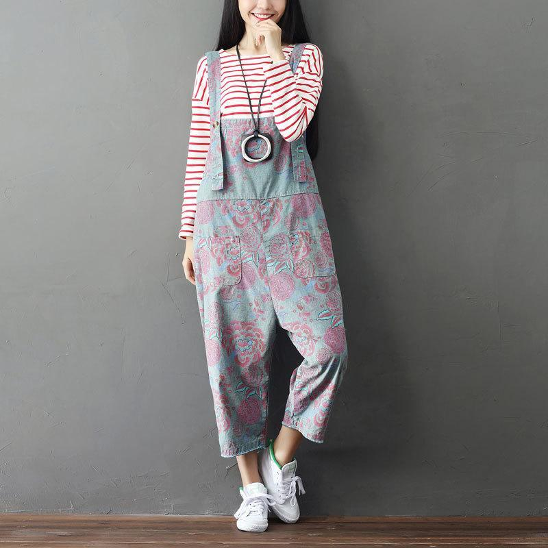 Buddha Trends Overall Loose Floral Grey Overall