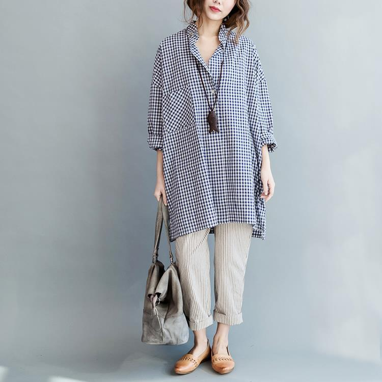 Buddha Trends Oversized Blue Plaid Shirt With Pockets