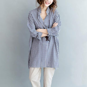 Buddha Trends Oversized Blue Plaid Shirt mit Taschen