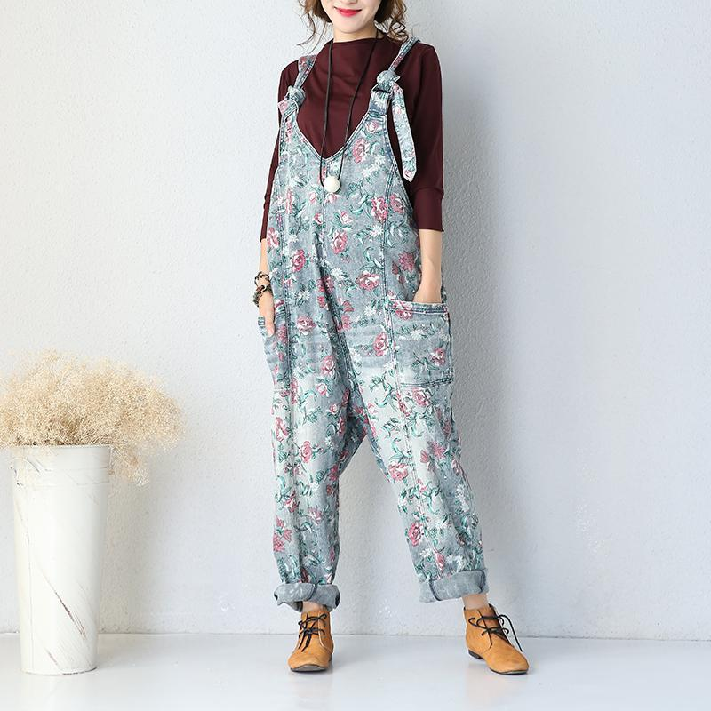 Buddha Trends Oversized Denim Floral Print Overall