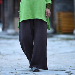 Buddha Trends Pants Brown / One Size Clarity Wide Leg Linen Palazzo Pants  | Zen