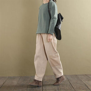 Buddha Trends Pants Light beige / L Loose Corduroy Pants With Pockets