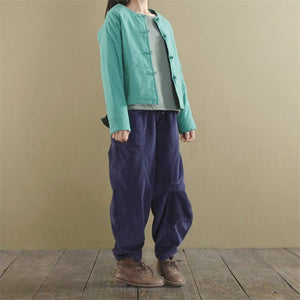 Buddha Trends Pants Loose Corduroy Pants With Pockets