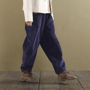 Buddha Trends Pants Navy blue / L Loose Corduroy Pants With Pockets