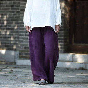 Buddha Trends Pants Purple / One Size Clarity Wide Leg Linen Palazzo Pants  | Zen
