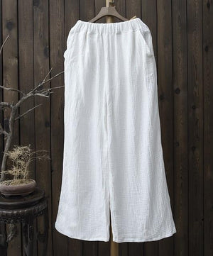 Buddha Trends Pants White / One Size Clarity Wide Leg Linen Palazzo Pants  | Zen