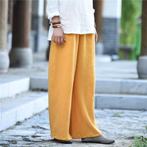 Buddha Trends Pants Yellow / One Size Clarity Wide Leg Linen Palazzo Pants  | Zen