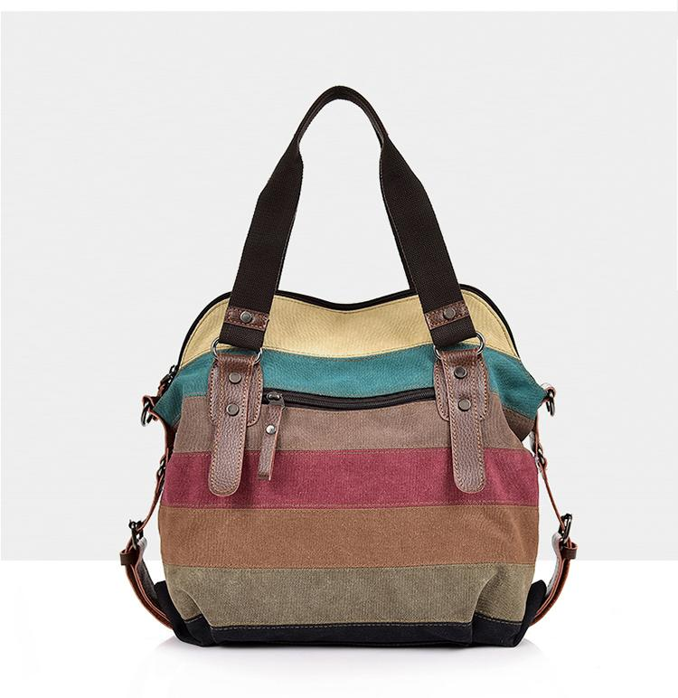Buddha Trends Patchwork Stripes Canvas Handbag