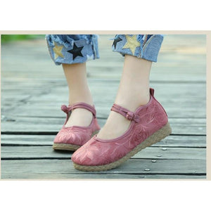 Chaussures Buddha Trends en coton et lin roses