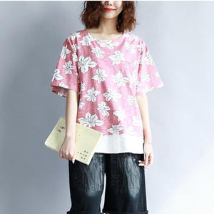 Buddha Trends Pink / One Size Double Layered Blumen T-Shirt