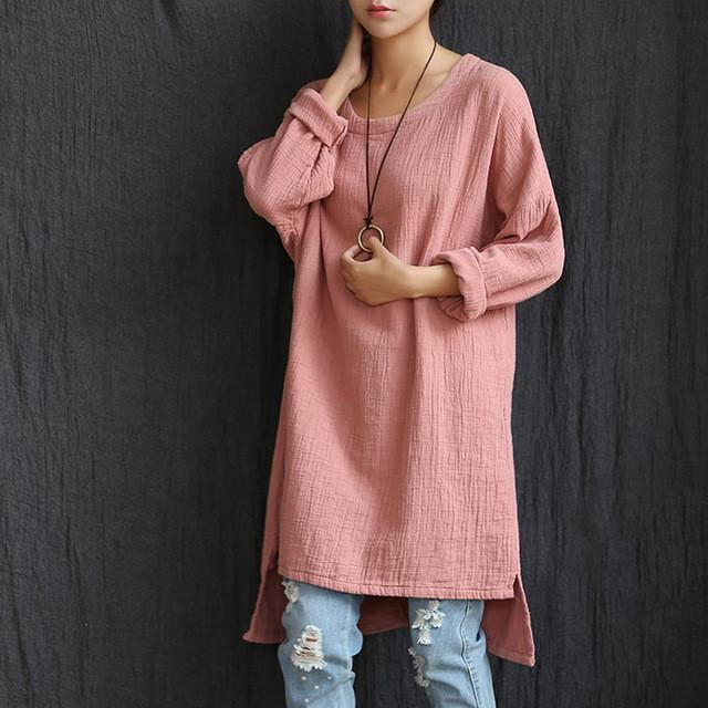 Buddha Trends Pink / One Size Long Sleeves Asymmetrical Cotton Shirt  | Zen