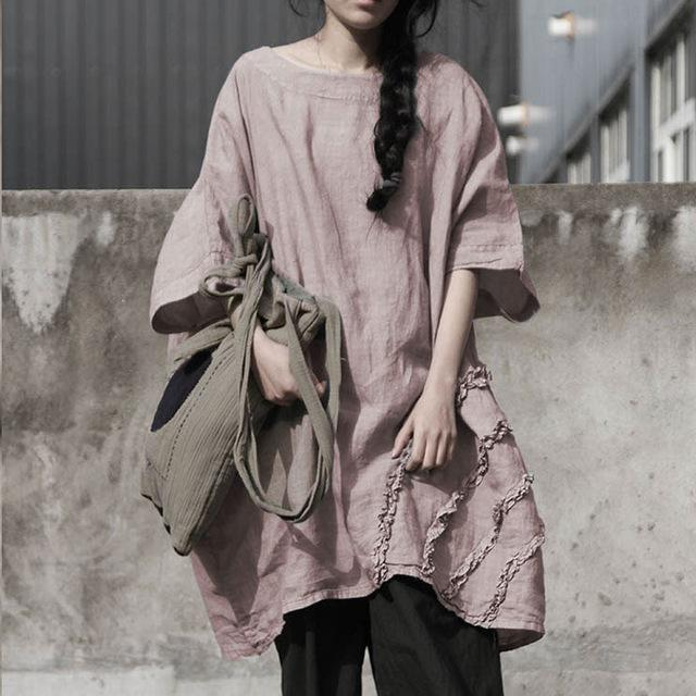 Buddha Trends Pink / One Size Oversized Casual Linen Shirt | Lotus