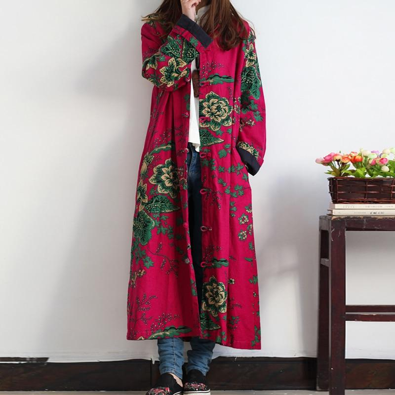 Buddha Trends Rosa Rose / One Size Floral Chinesischer Leinen Trenchcoat