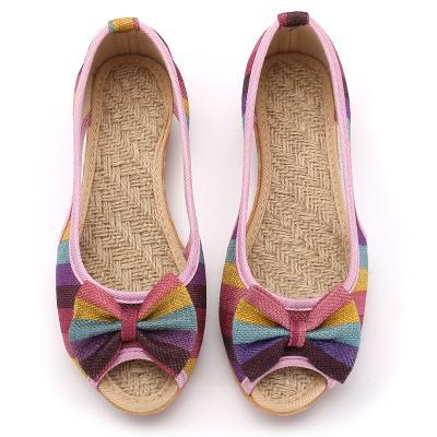 Buddha Trends Rainbow Striped Peep Toe Linen Shoes
