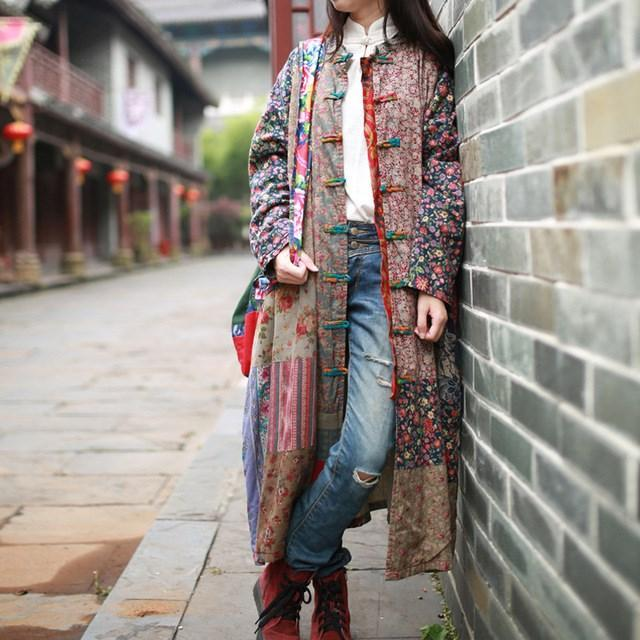 Giacca hippie vintage patchwork casuale di Buddha Trends