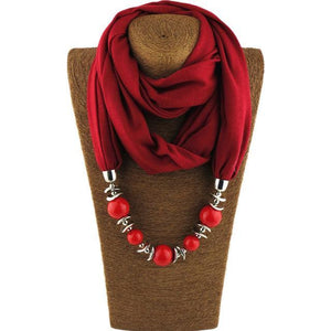 Collier foulard perlé Buddha Trends Red / 160CM