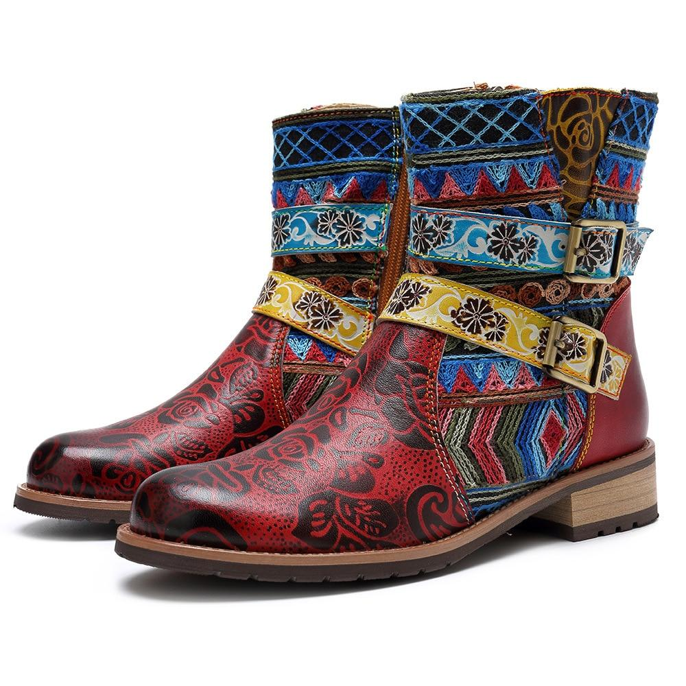 Buddha Trends Red / 5 Carly Boho Hippie Boots