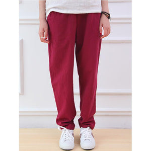 Buddha Trends Red / One Size Cotton & Linen Pleated Pants  | Zen