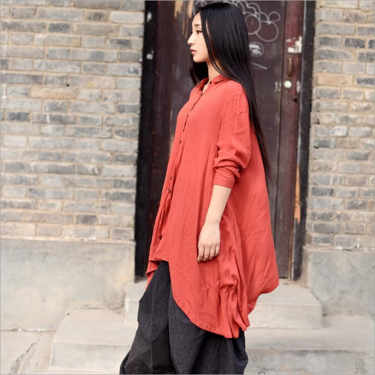 Buddha Trends Red / One Size Cropped Cotton Linen Flowy Shirt  | Zen