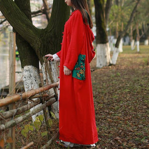 Buddha Trends Red / One Size Floral Patchwork Hooded Linen Trench Coat