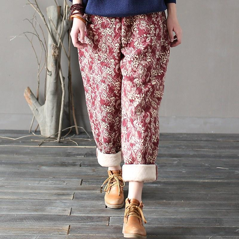 Buddha Trends Red / One Size Paisley Pattern Rolled Up Pants  | Zen