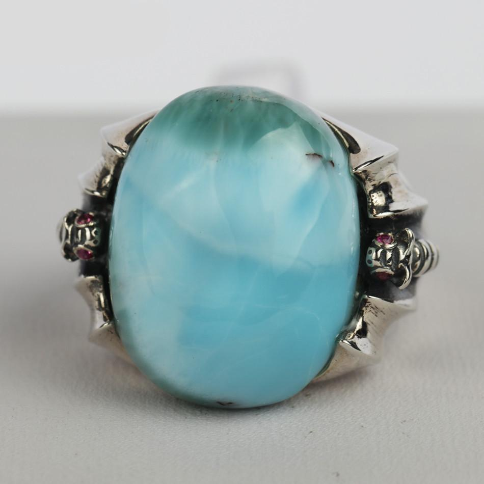 Buddha Trends Resizable / Blue Medieval Genuine Larimar Silver Ring