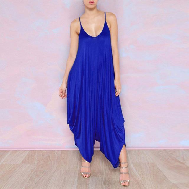 Buddha Trends Royal Blue / XS Plus Size Flowy Harem Overalls
