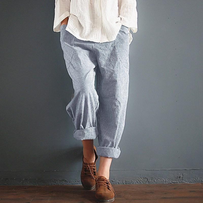 Buddha Trends sep Vintage Cotton Linen Striped Trousers  | Zen