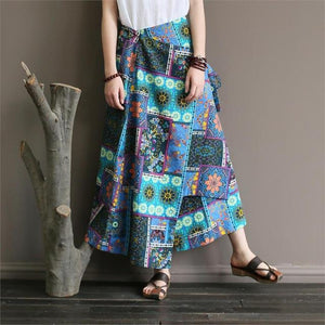 Buddha Trends Skirts Blue / One Size National Style Colorful Retro Skirts