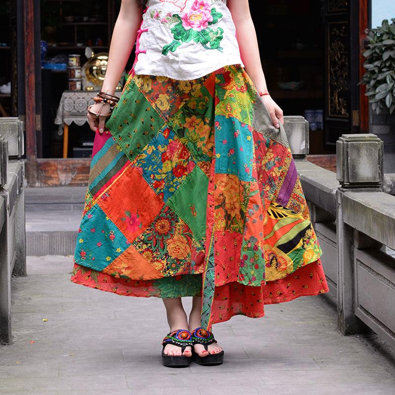 Floral Patchwork Hippie Skirt