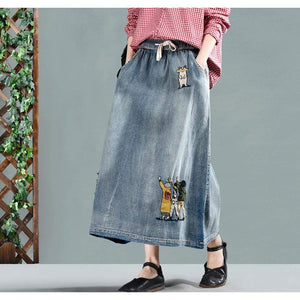 Cartoon Embroidered Denim Skirt