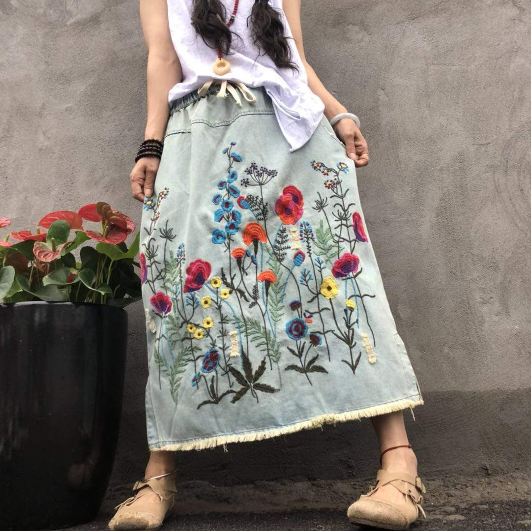 Floral Embroidered Denim Midi Skirt