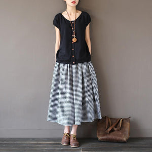 Buddha Trends Skirts One Size / Black&White Black and White Plaid Vintage Skirt