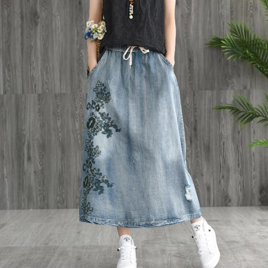 Buddha Trends Skirts One Size / Light Blue Floral Embroidered Distressed Denim Skirt