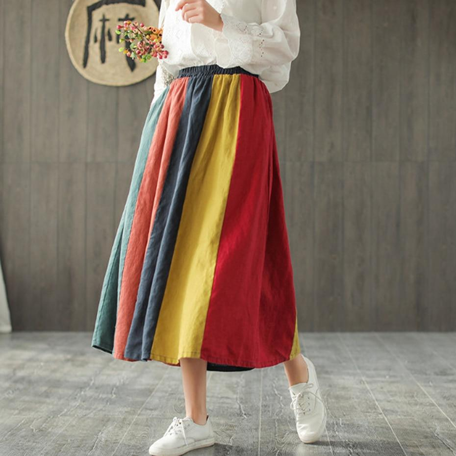Buddha Trends Skirts One Size / Multicolor Color Contrast Vintage Pleated Linen Skirt