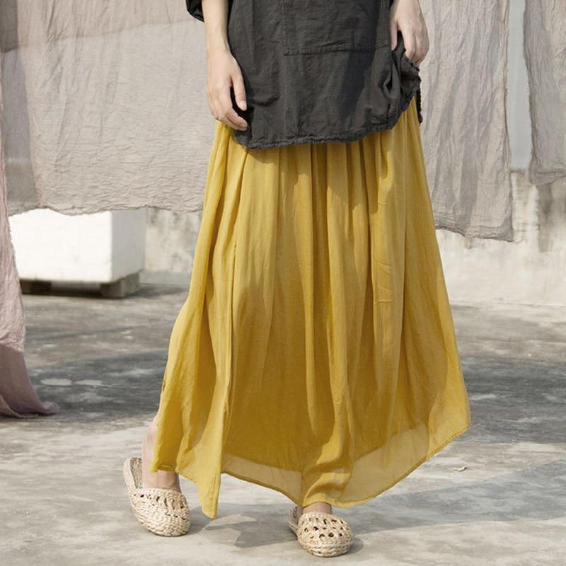 Buddha Trends Skirts One Size / Yellow Pleated Vintage Yellow Skirt | Lotus