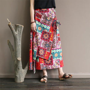 Buddha Trends Skirts Red / One Size National Style Colorful Retro Skirts