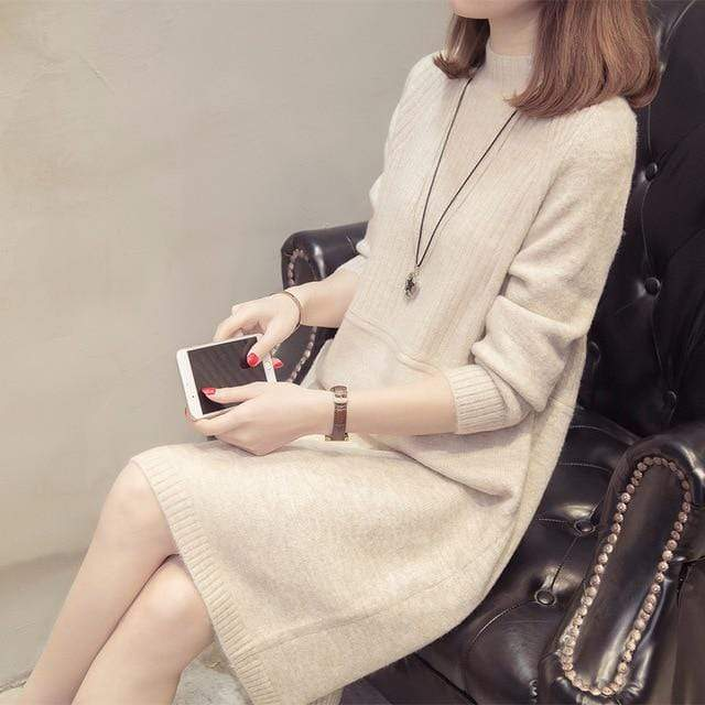 Conservative Turtleneck Sweater Dress