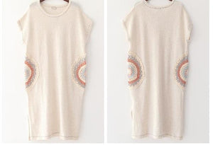 Buddha Trends Sweater Dresses Beige / One Size Mandala Embroidered Knitted T-Shirt Dress