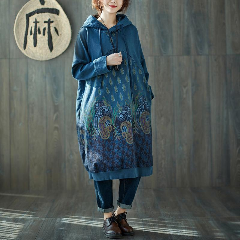 Buddha Trends Sweater Dresses Blue / One Size Peacock Paisley Hooded Sweater Dress