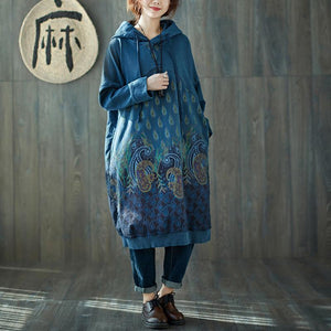 Buddha Trends Sweater Kleider Blau / One Size Peacock Paisley Hooded Sweater Kleid