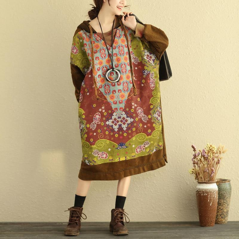 Tribal Hooded Sweater Dress
