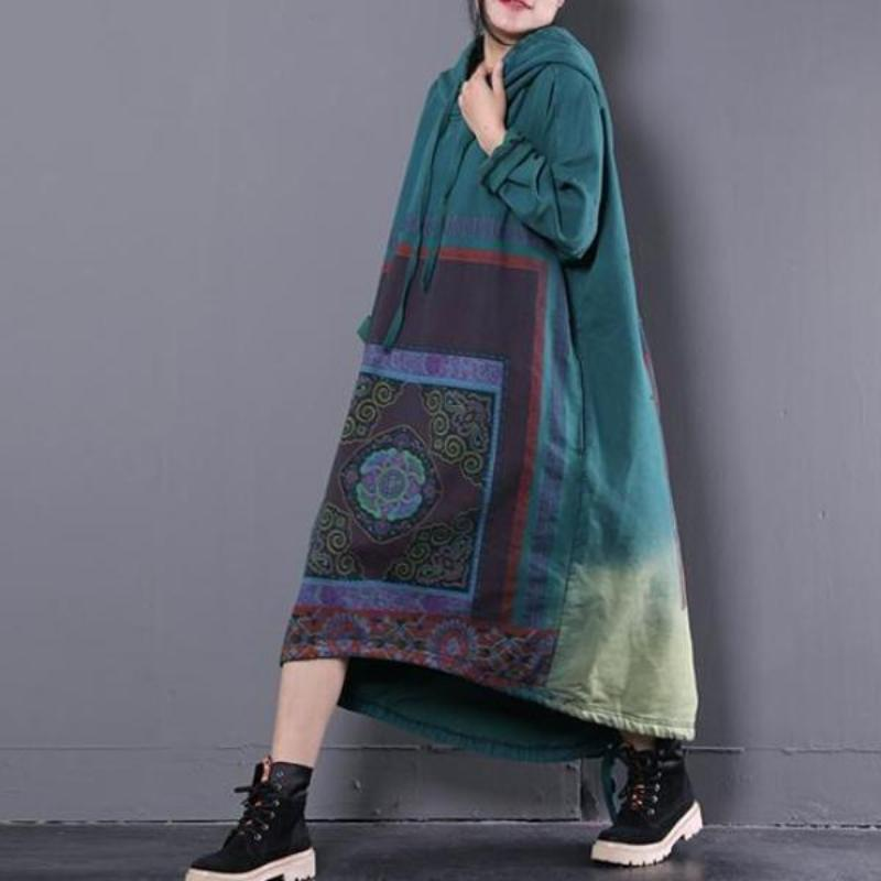 Buddha Trends Sweater Dresses Crystal Aura Hooded Sweater Dress