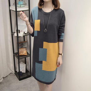 Geometric Plus Size Knitted Sweater Dress
