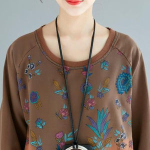 Buddha Trends Sweater Kleider Floral Oversized Sweater