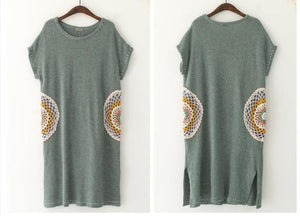 Buddha Trends Sweater Dresses Green / One Size Mandala Embroidered Knitted T-Shirt Dress