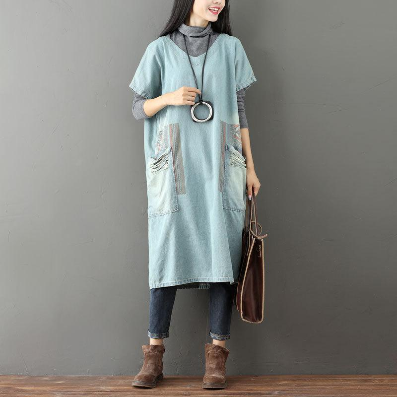 Buddha Trends Sweater Dresses One Size / Light Blue Color Block Denim T-shirt Dress
